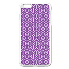 HEXAGON1 WHITE MARBLE & PURPLE DENIM Apple iPhone 6 Plus/6S Plus Enamel White Case