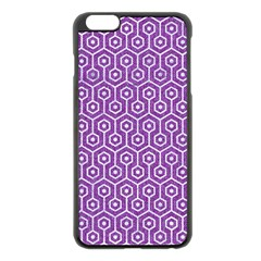 HEXAGON1 WHITE MARBLE & PURPLE DENIM Apple iPhone 6 Plus/6S Plus Black Enamel Case