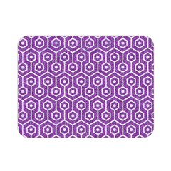 Hexagon1 White Marble & Purple Denim Double Sided Flano Blanket (mini)
