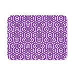 HEXAGON1 WHITE MARBLE & PURPLE DENIM Double Sided Flano Blanket (Mini)  35 x27 Blanket Front