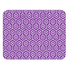 HEXAGON1 WHITE MARBLE & PURPLE DENIM Double Sided Flano Blanket (Large)