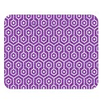 HEXAGON1 WHITE MARBLE & PURPLE DENIM Double Sided Flano Blanket (Large)  80 x60 Blanket Front