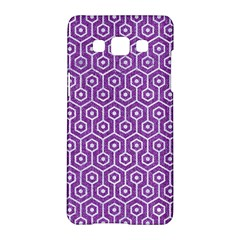 HEXAGON1 WHITE MARBLE & PURPLE DENIM Samsung Galaxy A5 Hardshell Case