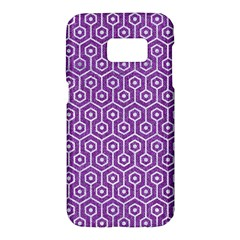 Hexagon1 White Marble & Purple Denim Samsung Galaxy S7 Hardshell Case