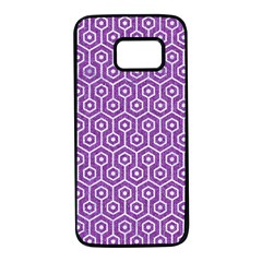HEXAGON1 WHITE MARBLE & PURPLE DENIM Samsung Galaxy S7 Black Seamless Case