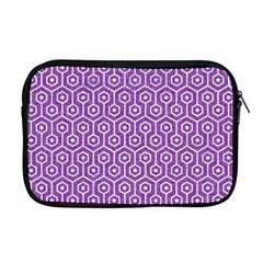 HEXAGON1 WHITE MARBLE & PURPLE DENIM Apple MacBook Pro 17  Zipper Case