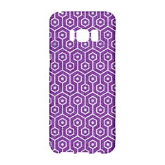 HEXAGON1 WHITE MARBLE & PURPLE DENIM Samsung Galaxy S8 Hardshell Case
