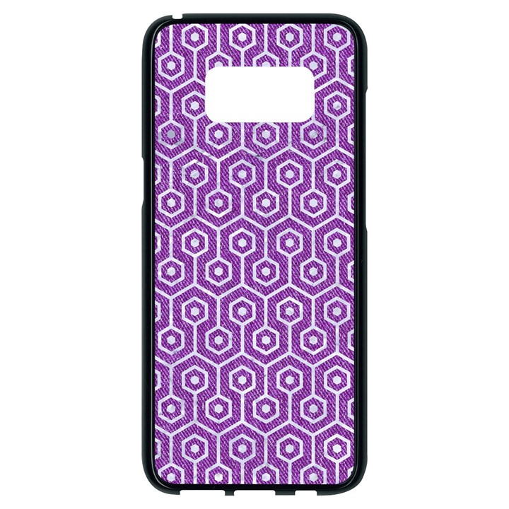 HEXAGON1 WHITE MARBLE & PURPLE DENIM Samsung Galaxy S8 Black Seamless Case