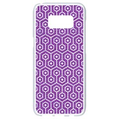 HEXAGON1 WHITE MARBLE & PURPLE DENIM Samsung Galaxy S8 White Seamless Case