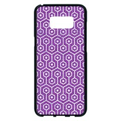 HEXAGON1 WHITE MARBLE & PURPLE DENIM Samsung Galaxy S8 Plus Black Seamless Case