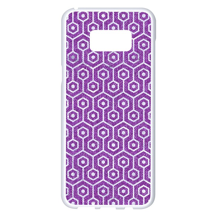 HEXAGON1 WHITE MARBLE & PURPLE DENIM Samsung Galaxy S8 Plus White Seamless Case