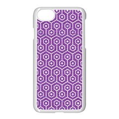 HEXAGON1 WHITE MARBLE & PURPLE DENIM Apple iPhone 8 Seamless Case (White)