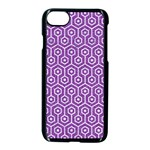 HEXAGON1 WHITE MARBLE & PURPLE DENIM Apple iPhone 8 Seamless Case (Black) Front