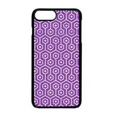 HEXAGON1 WHITE MARBLE & PURPLE DENIM Apple iPhone 8 Plus Seamless Case (Black)