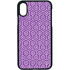 HEXAGON1 WHITE MARBLE & PURPLE DENIM Apple iPhone X Seamless Case (Black)