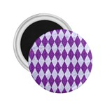 DIAMOND1 WHITE MARBLE & PURPLE DENIM 2.25  Magnets Front