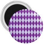 DIAMOND1 WHITE MARBLE & PURPLE DENIM 3  Magnets Front