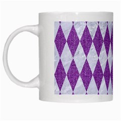 Diamond1 White Marble & Purple Denim White Mugs