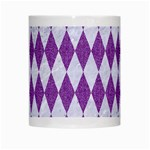 DIAMOND1 WHITE MARBLE & PURPLE DENIM White Mugs Center