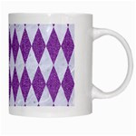 DIAMOND1 WHITE MARBLE & PURPLE DENIM White Mugs Right