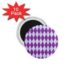 Diamond1 White Marble & Purple Denim 1 75  Magnets (10 Pack)