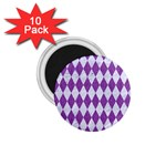 DIAMOND1 WHITE MARBLE & PURPLE DENIM 1.75  Magnets (10 pack)  Front