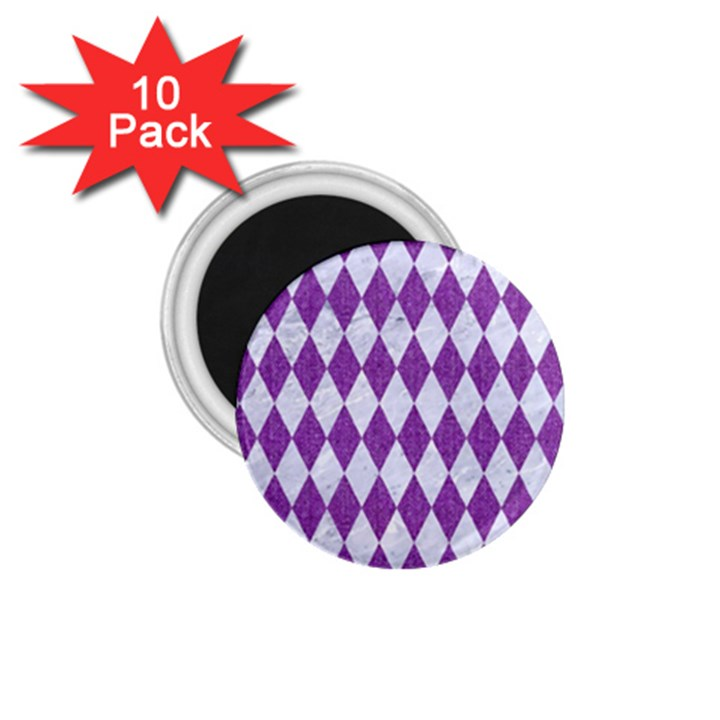 DIAMOND1 WHITE MARBLE & PURPLE DENIM 1.75  Magnets (10 pack)