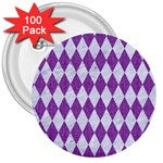 DIAMOND1 WHITE MARBLE & PURPLE DENIM 3  Buttons (100 pack)  Front