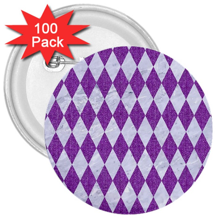 DIAMOND1 WHITE MARBLE & PURPLE DENIM 3  Buttons (100 pack)