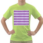 DIAMOND1 WHITE MARBLE & PURPLE DENIM Green T-Shirt Front