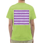 DIAMOND1 WHITE MARBLE & PURPLE DENIM Green T-Shirt Back