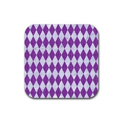 Diamond1 White Marble & Purple Denim Rubber Coaster (square)  by trendistuff