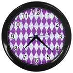 DIAMOND1 WHITE MARBLE & PURPLE DENIM Wall Clocks (Black) Front