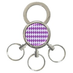 Diamond1 White Marble & Purple Denim 3 Ring Key Chains