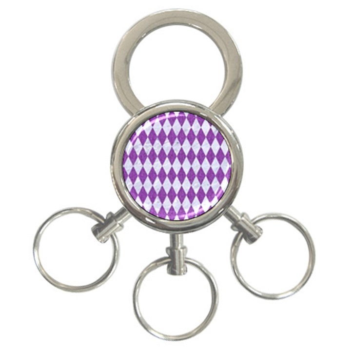 DIAMOND1 WHITE MARBLE & PURPLE DENIM 3-Ring Key Chains