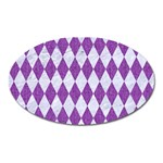 DIAMOND1 WHITE MARBLE & PURPLE DENIM Oval Magnet Front