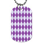 DIAMOND1 WHITE MARBLE & PURPLE DENIM Dog Tag (Two Sides) Front