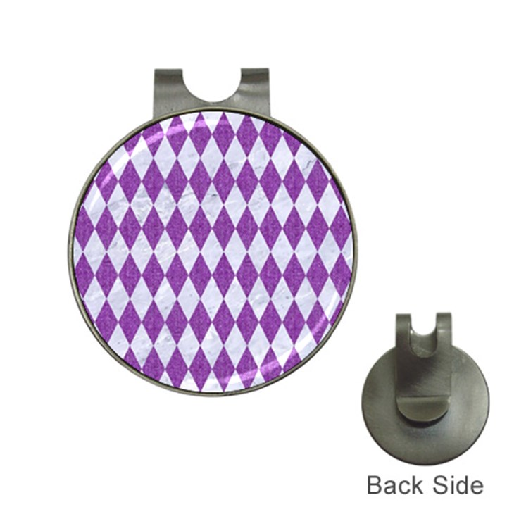 DIAMOND1 WHITE MARBLE & PURPLE DENIM Hat Clips with Golf Markers