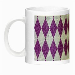 Diamond1 White Marble & Purple Denim Night Luminous Mugs