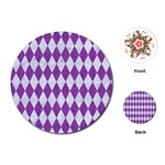 DIAMOND1 WHITE MARBLE & PURPLE DENIM Playing Cards (Round)  Front