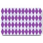 DIAMOND1 WHITE MARBLE & PURPLE DENIM Large Doormat  30 x20 Door Mat - 1