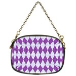 DIAMOND1 WHITE MARBLE & PURPLE DENIM Chain Purses (One Side)  Front