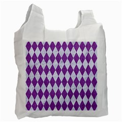 Diamond1 White Marble & Purple Denim Recycle Bag (one Side)