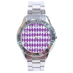 DIAMOND1 WHITE MARBLE & PURPLE DENIM Stainless Steel Analogue Watch Front