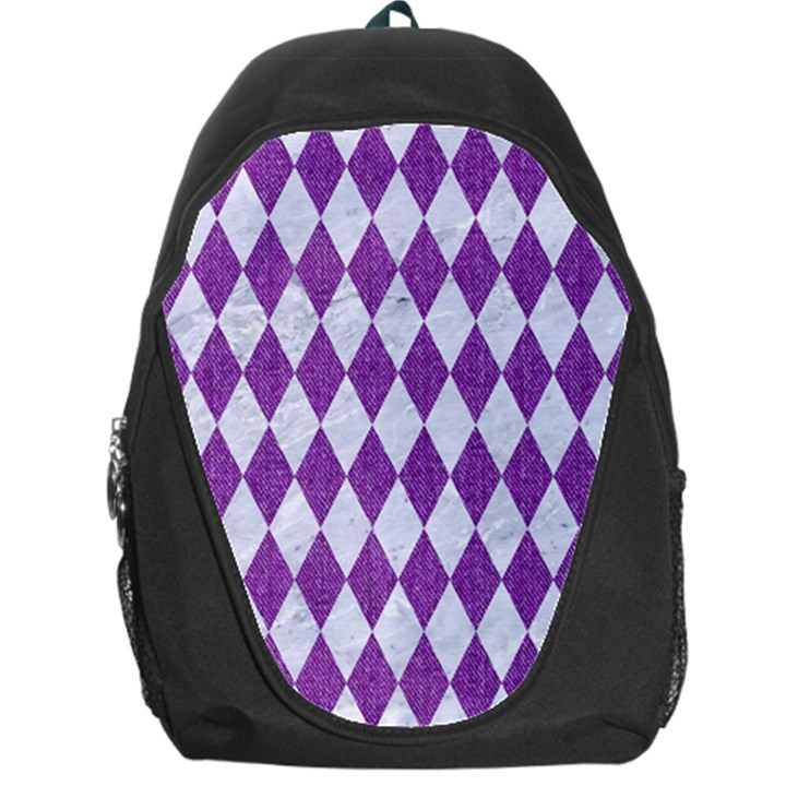 DIAMOND1 WHITE MARBLE & PURPLE DENIM Backpack Bag