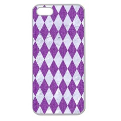 Diamond1 White Marble & Purple Denim Apple Seamless Iphone 5 Case (clear) by trendistuff
