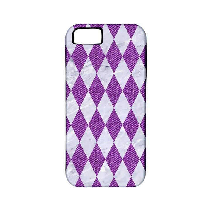 DIAMOND1 WHITE MARBLE & PURPLE DENIM Apple iPhone 5 Classic Hardshell Case (PC+Silicone)