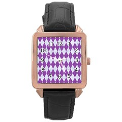 Diamond1 White Marble & Purple Denim Rose Gold Leather Watch