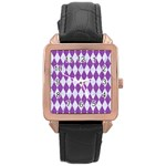 DIAMOND1 WHITE MARBLE & PURPLE DENIM Rose Gold Leather Watch  Front