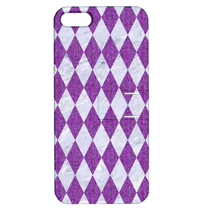 DIAMOND1 WHITE MARBLE & PURPLE DENIM Apple iPhone 5 Hardshell Case with Stand